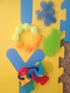 Frozen teethers: Bright Start, Sassy Bug, Classic Ring