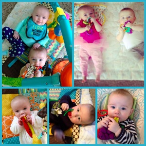 Teething in action.  Another favorite: the Razbaby Razberry Teether.
